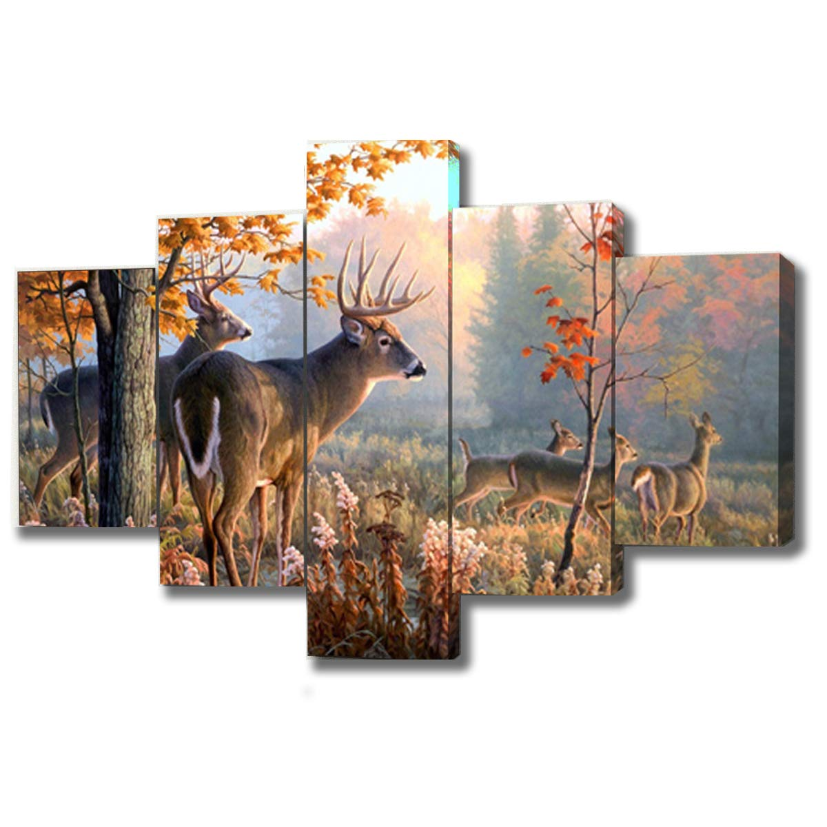 DXYJUYI Elks Modern Animals Landscape Artwork 5 Panels Giclee Canvas Prints Forest Pictures Paintings on Stretched and Framed Canvas Wall Art for Living Room Bedroom Home Decor