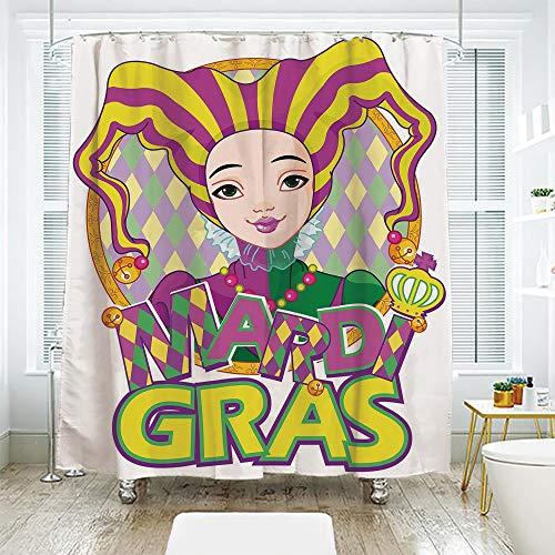 scocici Bathroom Curtain Separation Door Curtain Shower Curtain,Mardi Gras,Carnival Girl in Harlequin Costume and Hat Cartoon Fat Tuesday Theme,Yellow Purple Green,72