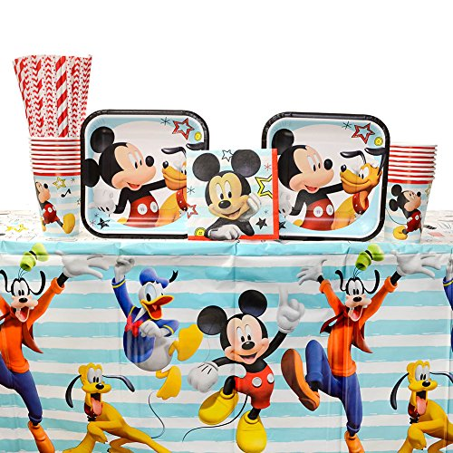 Disney Mickey Mouse On The Go Party Supplies Pack for 16 Guests: Straws, Dessert Plates, Beverage Napkins, Table Cover, and Cups