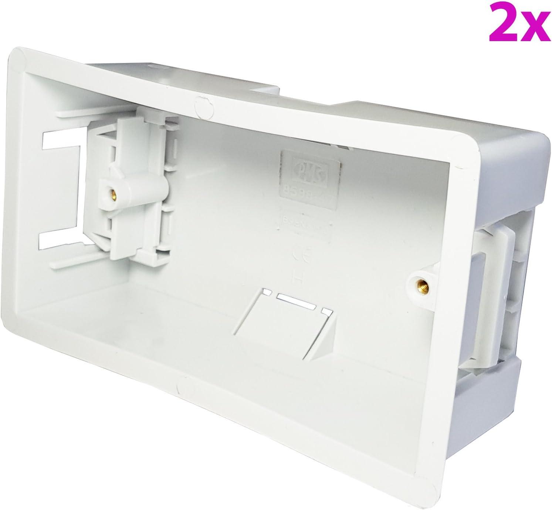 Loops 2 x 47 mm de Profundidad, Caja Trasera de Yeso – Doble Forro seco para empotrar/empotrar en el colchón para Paredes de Yeso/Yeso, Placas faciales & Twin/2 Tomas de Enchufe: Amazon.es: