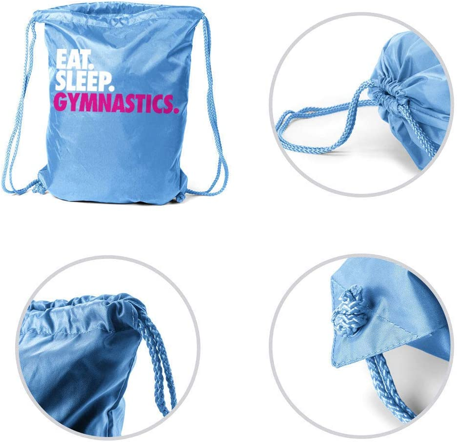 Light Blue Gymnastics Sport Pack Cinch Sack Eat Sleep Gymnastics