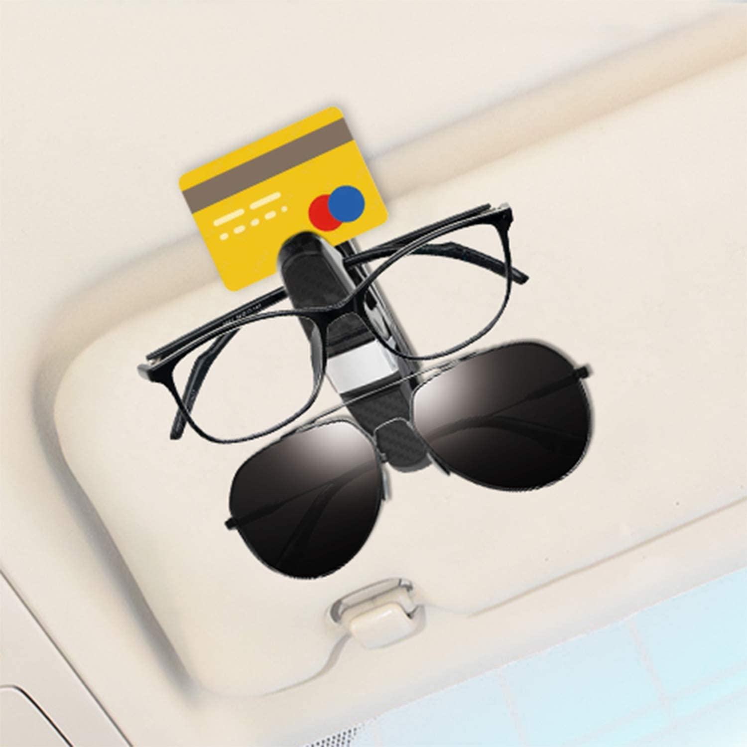 Gydandir 2 Pack Glasses Holders for Car Sun Visor Along with 2 PCS Glasses Cleaning Cloth Sunglasses Eyeglasses with Clips for Tickets and Cards