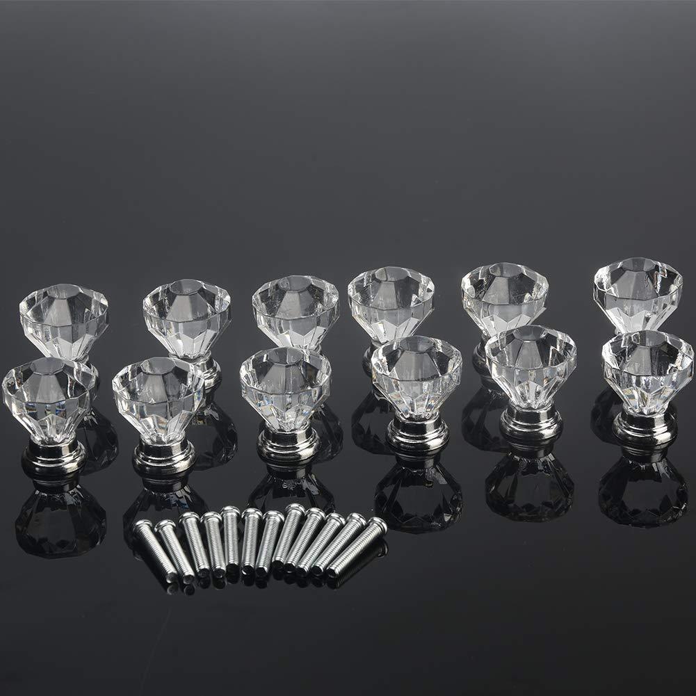 6SHINE 12pcs poign/é Cabinet Verre en Forme Diamant en Forme Diamant poign/ée tiroir Tire 30mm Effacer