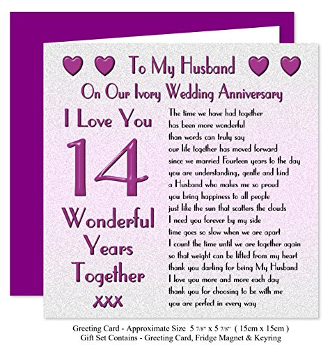 My husband 14th wedding anniversary gift set card keyring my husband 14th wedding anniversary gift set card keyring fridge magnet present on our ivory anniversary 14 years sentimental verse i love you m4hsunfo