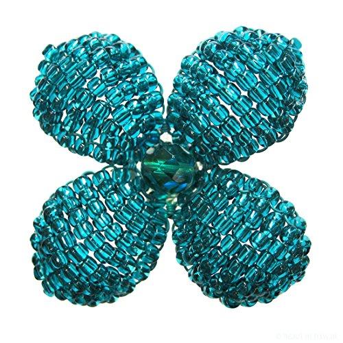 - Heart in Hawaii Makalapua Quatrefoil Beaded Flower Brooch - Teal