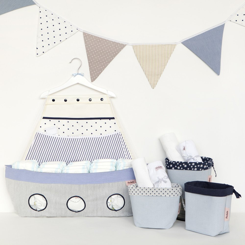 Baby girl new born shower gift - ''MEDIO'', Boat shaped organizer, Fabric storage boxes set and a triangle banner - light blue