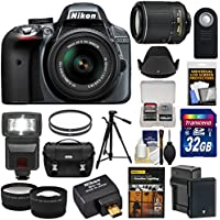 Nikon D3300 Digital SLR Camera & 18-55mm (Grey) & 55-200mm VR II Lens + WU-1a Wi-Fi Adapter + 32GB + Case + Battery + Tripod + Flash + 2 Lens Kit Review Review Image