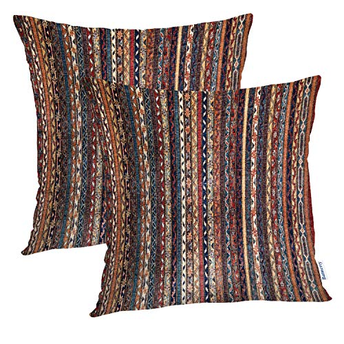 Batmerry Turkish Pillow Covers 18x18 Inch Set of 2, Vintage Persian Oriental Turkish Carpet Pattern Double Sided Square Pillow Cases Pillowcase Sofa Cushion (Oriental Sofa Sets)