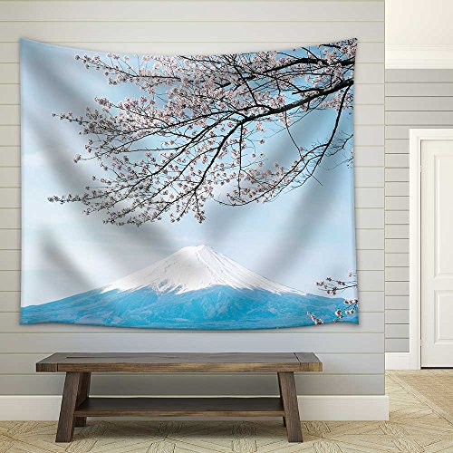 wall26 - Mt Fuji with Cherry Blossom - Fabric Wall Tapestry Home Decor - 68x80 inches