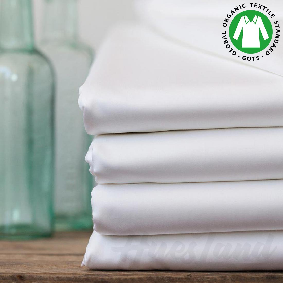 White HLFS301WHITE/_K Huesland Organics Fitted Sheet GOTS Certified 100/% Organic Cotton 300 Thread Count with Deep Pockets