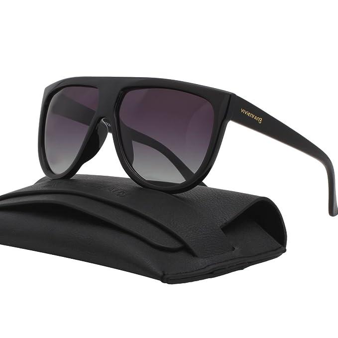 25a60141e VIVIENFANG Oversize Flat Top Teardrop Tortoise Aviator Sunglasses Polarized  P1835A Black