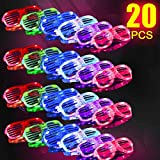 2019 Light Up Glasses,Neon Party Supplies 20 Pack LED Glasses,6 Color LED Sunglasses Shutter Shades Light Up Plastic Shutter Shades for...