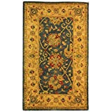 Safavieh Antiquities Collection AT21E Handmade Traditional Oriental Blue Wool Area Rug (3′ x 5′)