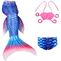 FOURSTEEDS Girls Vivid Mermaid Tail Swimsuit with Monofin for Swimming 3T-10T