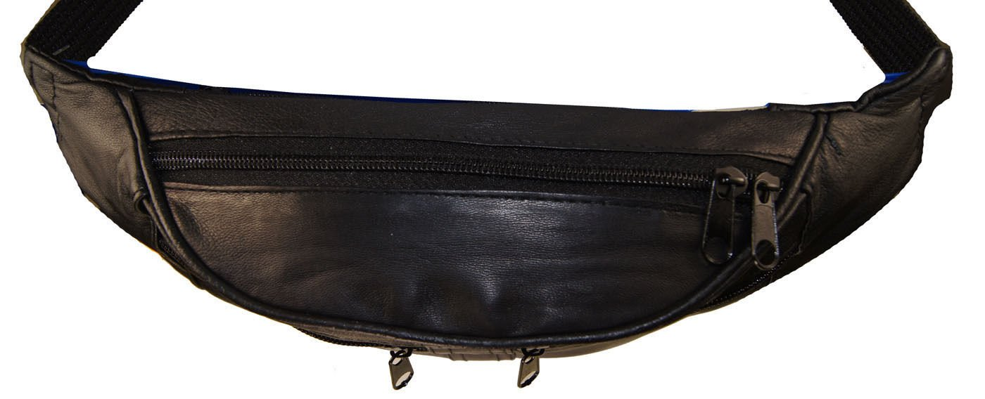 Black Leather Waist Fanny Pack Travel Belt Bag Hip Travel Pouch 40'' Waist by Wallet (Image #2)