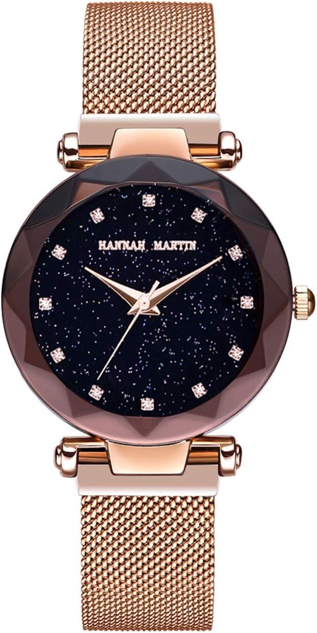 Hannah Martin SMAEL Relojes electrónicos magnéticos Impermeables Relojes de Pulsera para Las Mujeres con Movimiento de Japón,Rosegold