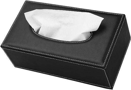 Caja de pañuelos de cuero, rectangular negro, caja de papel de seda cubierta de servilleta organizador titular de almacenamiento para el hogar, oficina, decoración del coche: Amazon.es: Bricolaje y herramientas