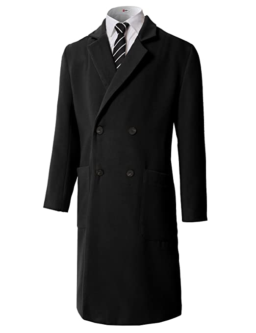 Men's Vintage Style Coats and Jackets H2H Mens Classic Coat Long Gentleman Business Overcoat Trench Coat $80.49 AT vintagedancer.com