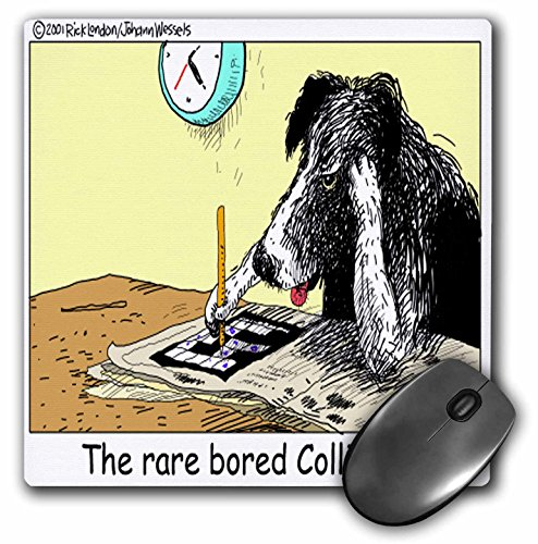 Londons Times Funny Dogs Cartoons - Bored Border Collie - MousePad (mp_1469_1)