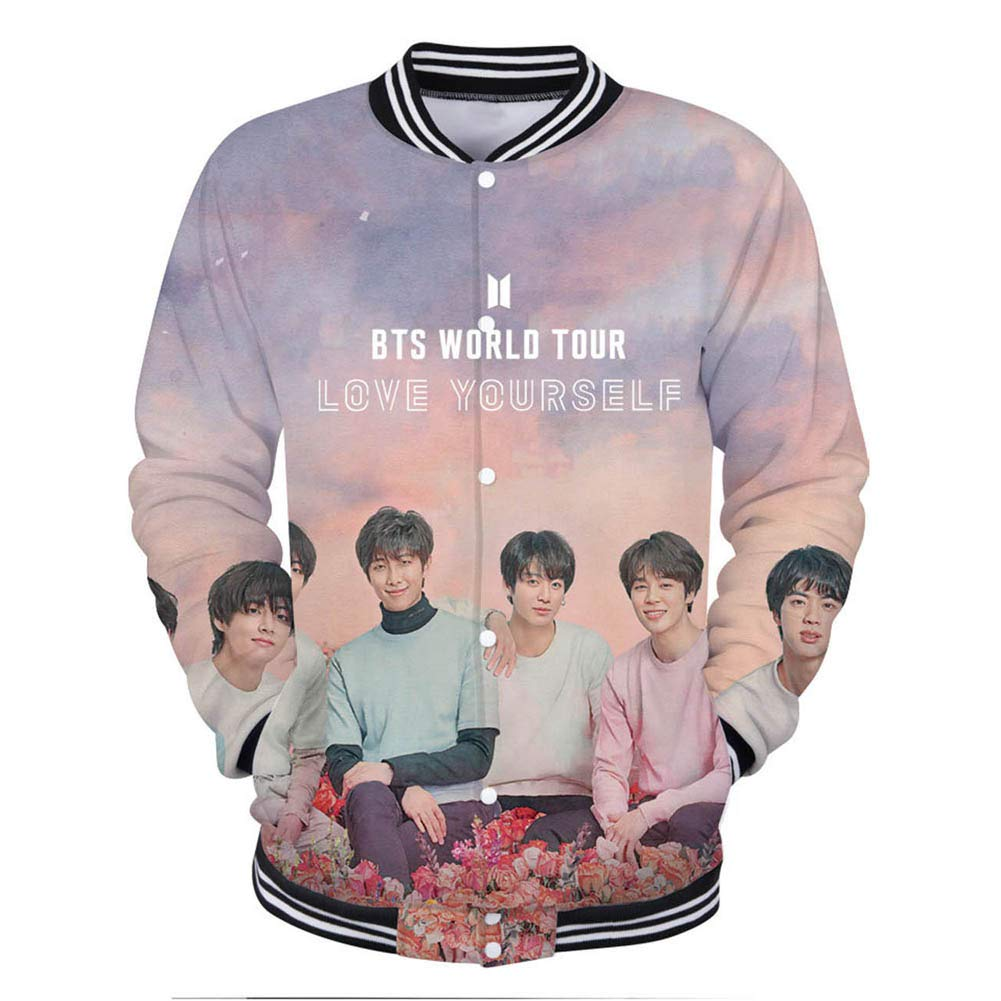 YJQ Unisex Kpop BTS Jacket Love Yourself Tear Sweatshirt Baseball Jacket Coat for Men Women Teen Girs and Boys(L Pink) by YJQ