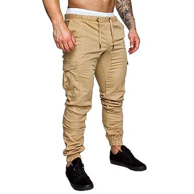 Holgados chándal Rawdah Pantalones Bolsos Holgados Hombre Casual Pantalones  para Pantalones Deportivos Elásticos Pantalones Pantalones de ... e593c01bb4a3