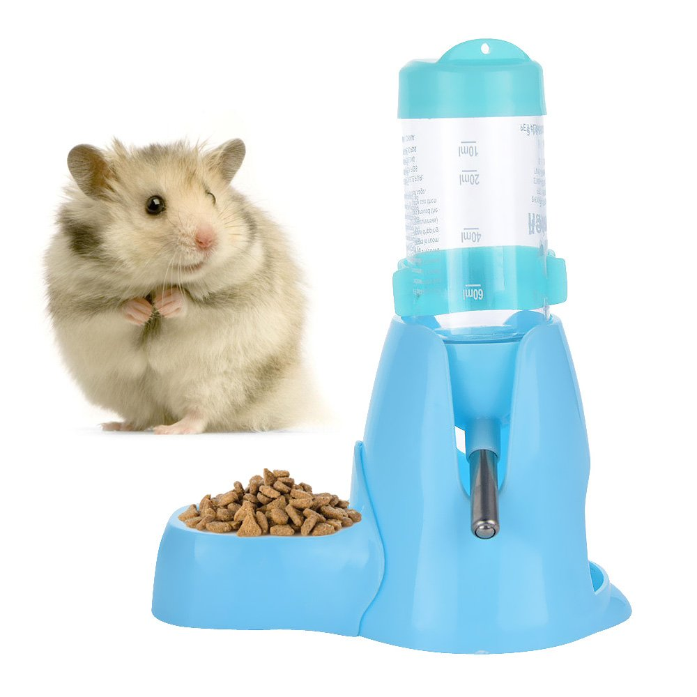 80ml Pet Water Bottle,Pet Drinking Bottle with Food Container Base Hut By Guardians for Hamsters Rats Guinea-pigs Ferrets Rabbits Small Animals Hanging Water Feeding Bottles Auto Dispenser (Blue)
