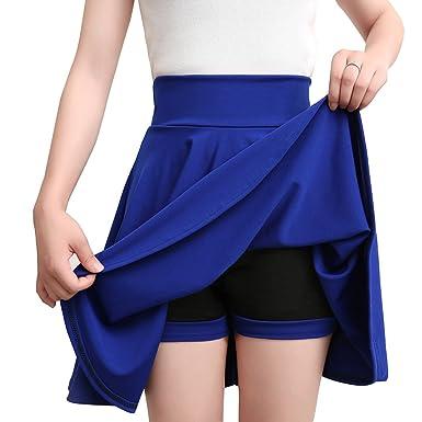 Grandes Tailles Jupe Plissée Patineuse Courte Femme Taille Haute d été Jupe  Court Midi Jupe d6c9ccc4d6b