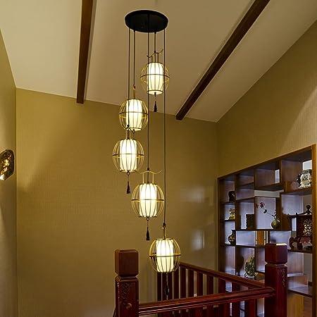 Amos Escalera de Caracol de Doble Nivel Retro Villa Escalera de Caracol Hierro Forjado lámpara de Jaula Restaurante Restaurante Chino lámparas de luz de Escalera (Color : Oro): Amazon.es: Hogar