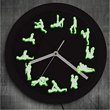 guyuell Posiciones Sexuales Decoración De Pared Reloj De Pared Luminoso Club Nocturno Iluminación Led Reloj De Pared De Neón Reloj De Pared Maduro Adulto, ...
