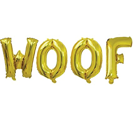 16 woof gold letter balloonswoof birthday woof birthday theme woof party