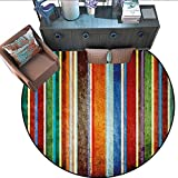 Stripes Round Area Rug Carpet Vertical Lines Colorful Retro Bands with Damage Effects Old Fashion Weathered Display Anti-Skid Area Rug (79' Diameter) Multi