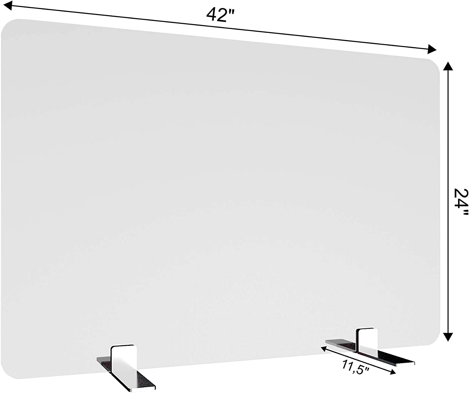 Free-Standing Acrylic Protective Guard for Countertops w/Medium 11.5 inches Flat Legs, Office Desk Partition Panels, Protective Barriers for Workspace (42