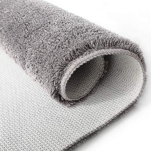 Throw Rug Purpose: Grey Non Slip Bath Mat Washable Microfiber Bathroom Throw
