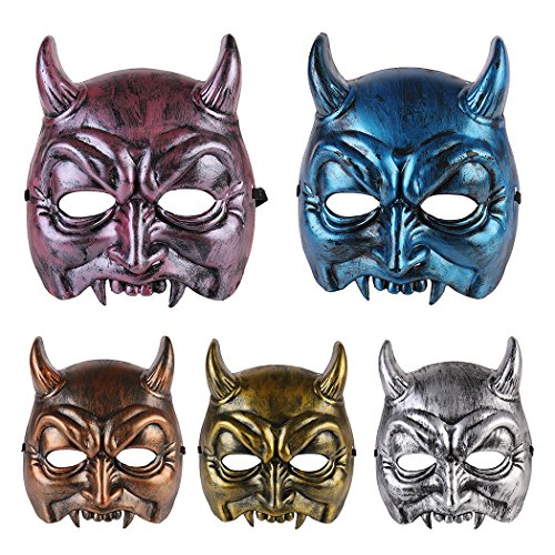 Halloween Masks, Coxeer 5 Pieces Creative Devil Design Cosplay Mask Masquerade Animal skeleton Mask with Elastic Band Mask Halloween Party Costume Accessory