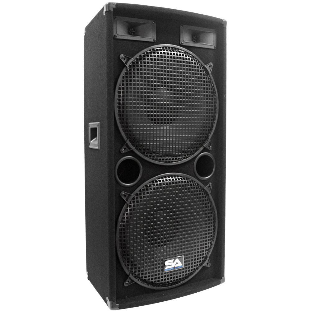 Seismic Audio Pair Of Dual 15 Inch Pa Dj Speakers 1000