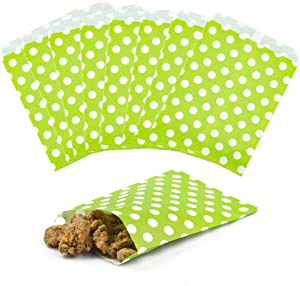 ZOOYOO Food Safe Favor Bags,Paper Candy Cookie Bags,Buffet Treat Bags for All Party Loot Bags - Green 25PCS