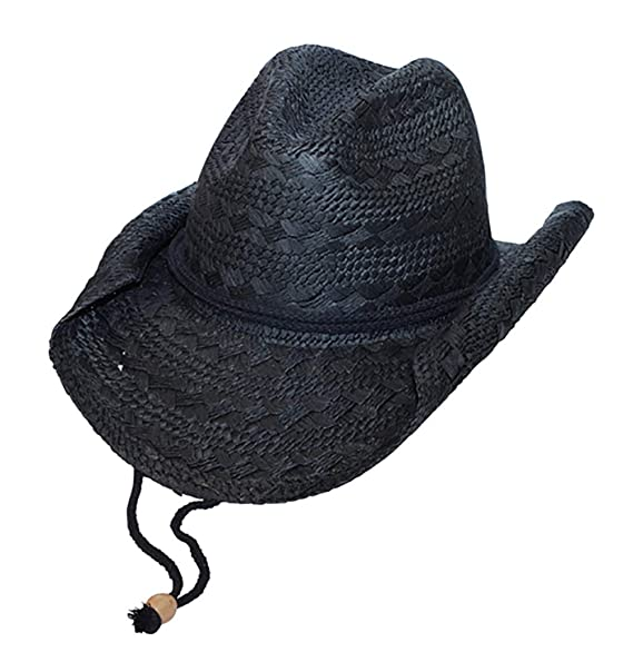 MG Ladies Straw Toyo Cowboy Hat (Black) at Amazon Women s Clothing ... a9af7404cda