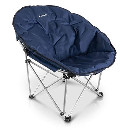 Navaris Silla Plegable para Camping - Asiento Redondo con Bolsa de Transporte - Silla portátil para Acampada Playa Pesca Exteriores - XXL en Azul