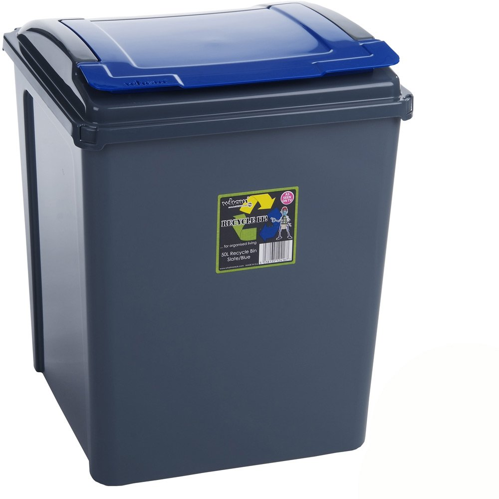 Recycling Bin with Removable Lid 40 x 40 cm, 50 Litre, Graphite/Blue, 1.68 Kg – Bin Bin Waste Bin Rycycling H-Collection