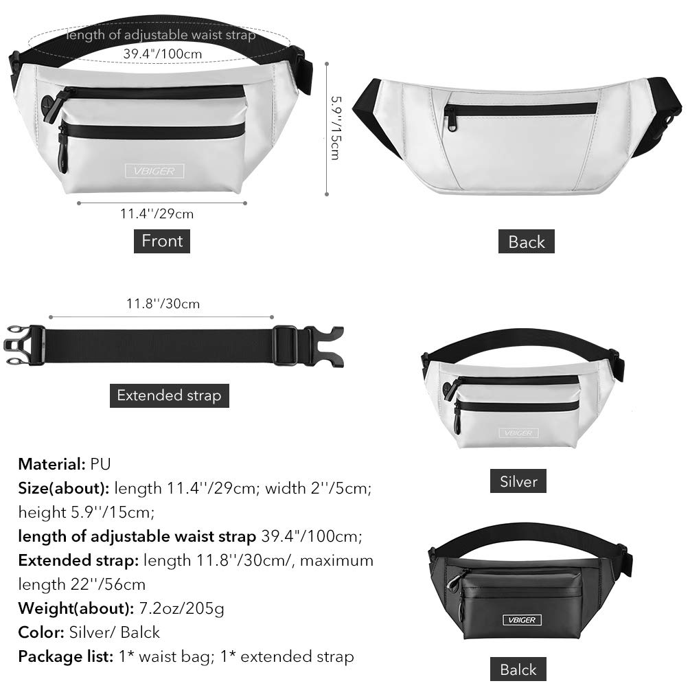VBIGER Fanny Pack for Men Women,Waterproof Waist Pack Belt Bags with RFID Blocking and Anti-theft Functions