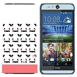 KLONGSHOP // Cubierta de piel con cierre a presión Shell trasero duro de goma Protección Caso - Modelo blanco historieta de Japón Peach - HTC Desire Eye M910x //