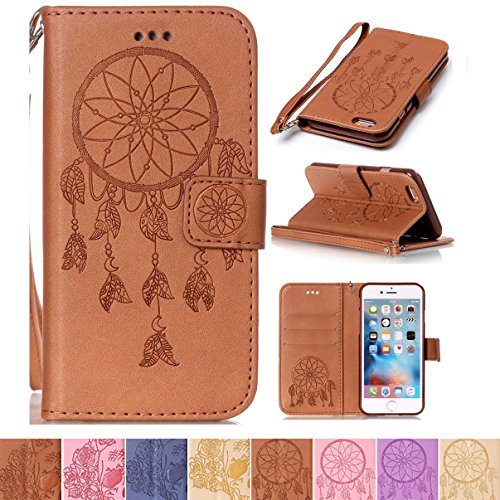 iPhone 6 Case, iPhone 6S Case, Firefish Kickstand Flip Folio [Card Slots] Wallet Cover Dual Layer Shell with [Magnetic Closure] [Wrist Strap] Protective Case for Apple iPhone 6/6S 4.7'- Net-B
