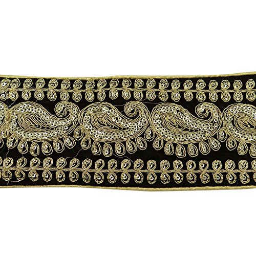 Velvet Fabric Embroidered Trim 8.1 Cm Wide Indian Sari Crafting Sewing By The (Embroidery Sari Saree)