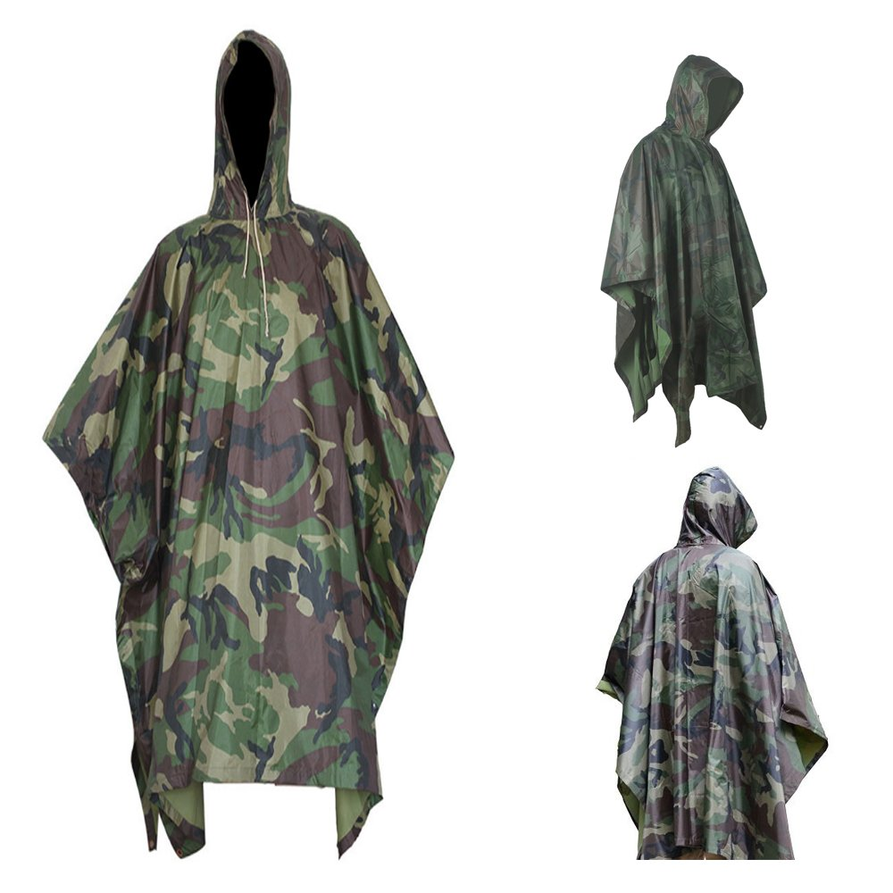 Men's Military Camouflage Waterproof Ripstop Hooded Rain Poncho Multifunction Army Camo Rain Coat for Adults Hiking Camping Fishing Outdoor Activities