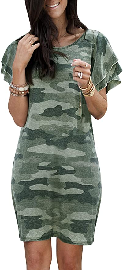 Lovezesent Womens Summer Sleeveless Casual Camo T Shirts Ruffle Tank Tops