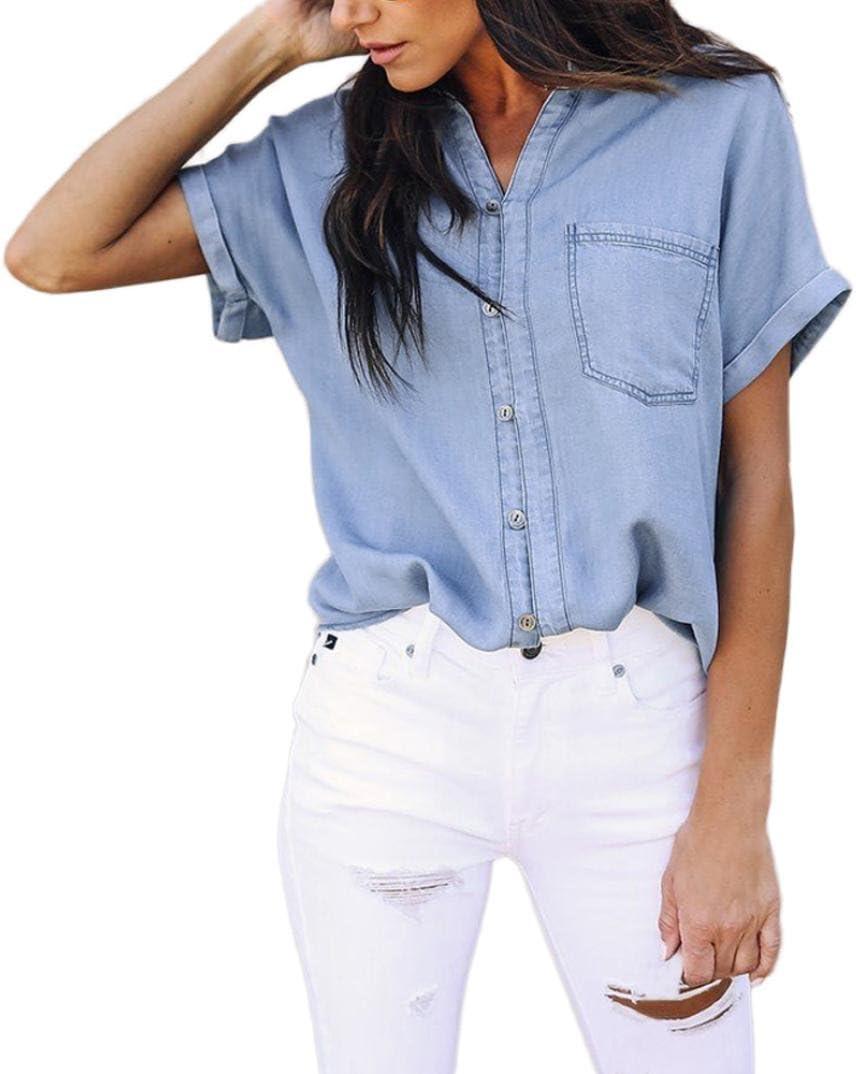 Hmlai - Blusa de Mezclilla para Mujer, Estilo Vintage, Manga Corta ...