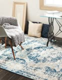 Blue Rug Unique Loom 3134080 Sofia Collection 5 8 Feet (5' x 8) Traditional Oriental Distressed Vintage Area Rug, 5 x 8, Blue