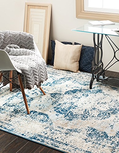 Unique Loom 3134076 Sofia Collection 4 6 Feet (4' x 6) Traditional Oriental Distressed Vintage Area Rug, 4 x 6, Blue
