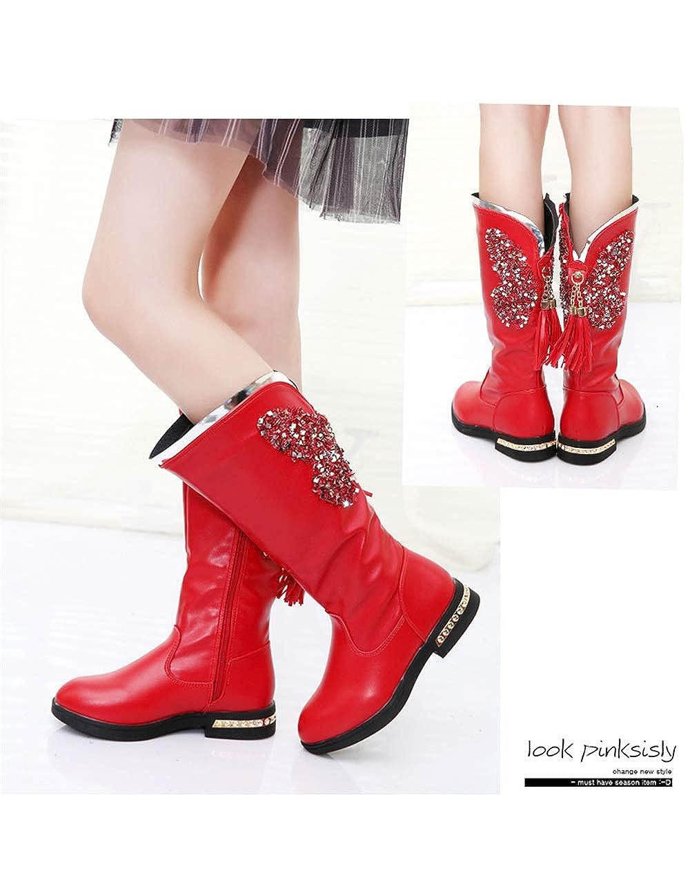 Red EU 33//1.5 M US Little Kid Girls Waterproof Pom Pom Back Zipper Fur Tall Riding Boots