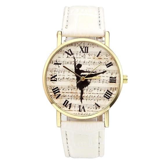 jsdde Relojes, Vintage Mujer Bailarina notación Musical Reloj de Pulsera Banda de Cuero números Romanos Reloj analógico para Mujer qaurz Reloj, ...